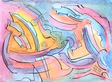 Watercolor bakground. Watercolor hand drawn abstract bakground Royalty Free Stock Photos