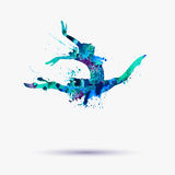 Watercolor ballerina (girl gymnast) Royalty Free Stock Images