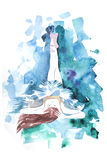 Watercolor ballerina hand painted with word Ballet. Dancer illustration Royalty Free Stock Images