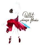 Watercolor ballerina hand painted with words Ballet dance studio. Dancer illustration Stock Photos