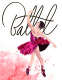 Watercolor ballerina hand painted with words Ballet. Dancer illustration Royalty Free Stock Photos