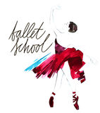 Watercolor ballerina hand painted with words Ballet school. Dancer illustration Royalty Free Stock Photos