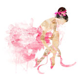Watercolor ballerina in a pink pointe. Shoes ties Royalty Free Stock Images