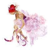 Watercolor ballerina in pink  shoes ties Royalty Free Stock Photography
