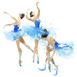 Watercolor ballerinas dancing. In bright splashes of paint Stock Photography