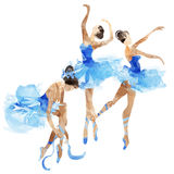 Watercolor ballerinas dancing. In bright splashes of paint Royalty Free Stock Photography