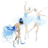 Watercolor ballerinas dancing Stock Photos