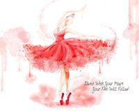 Watercolor ballet dancer. Attractive dancer in watercolor paint stroke isolated on white background royalty free illustration