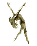 Watercolor ballet pose. ballerina in dance. Royalty Free Stock Images