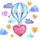 Watercolor balloon with hearts flies in the clouds