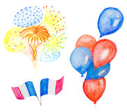 Watercolor balloons and fireworks. French flags Stock Images
