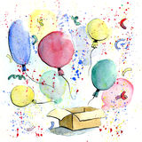 Watercolor balloons fly out of the box. Watercolor colorful balloons fly out of the box stock illustration