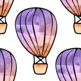 Watercolor balloons. Seamless background with watercolor balloons Royalty Free Stock Photography