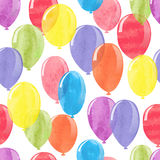 Watercolor balloons seamless pattern. Royalty Free Stock Images