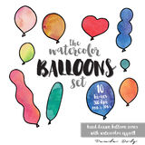 Ballon Icons - Watercolor. Collection of 10 party balloons with a watercolor effect, each in different colors and Stock Images