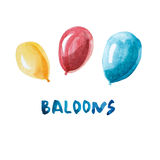 Watercolor baloons isolated on white background. Royalty Free Stock Images