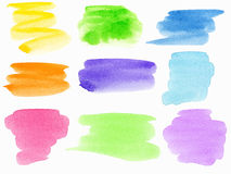 Watercolor baners. Colorful watercolor hand painted brush strokes. Isolated on white background Royalty Free Stock Photos