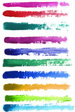 Watercolor baners, strokes. Colorful watercolor hand painted brush strokes. Isolated on white background Royalty Free Stock Photos