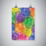 Watercolor banner hanging on the wall Stock Image