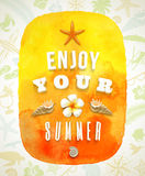 Watercolor banner with summer greeting Royalty Free Stock Photos