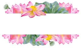 Free Watercolor Banner Template For Your Text Quote With Lotus Flower And Leaves Hand Draw Illustration. Bright Water Lily Background Stock Photos - 191442873