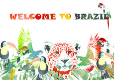 Watercolor banner. Tropical background. Welcome to Brazil Royalty Free Stock Images