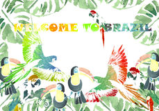 Watercolor banner. Tropical background. Welcome to Brazil Royalty Free Stock Photos