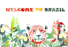 Watercolor banner. Tropical background. Welcome to Brazil Stock Photography