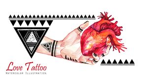 Watercolor banner woman hand with mehendi tattoo holding anatomic heart. Geometric decor, triangles. Human, body parts Royalty Free Stock Images