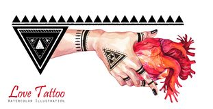 Watercolor banner woman hand with mehendi tattoo holding anatomic heart. Geometric decor, triangles. Human, body parts Royalty Free Stock Photography