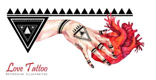 Watercolor banner woman hand with mehendi tattoo holding anatomic heart. Geometric decor, triangles. Human, body parts vector illustration