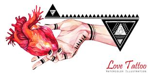 Watercolor banner woman hand with mehendi tattoo holding anatomic heart. Geometric decor, triangles. Human, body parts Royalty Free Stock Photos