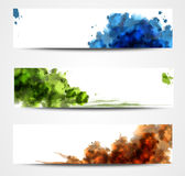 Watercolor banners. Set of three watercolor banners Stock Photos
