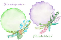 Watercolor banners with floral decorations, branches and leaves. On a white background, greeting card, decoration postcard or invitation Stock Images