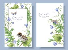Watercolor banners with forest plants and bird royalty free stock photography