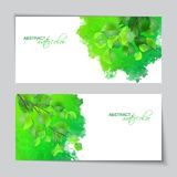 Watercolor banners with green leaves. Abstract vector watercolor banners with green leaves on rough grunge texture painted background Royalty Free Stock Photography