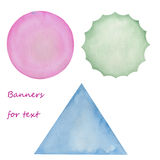 Watercolor banners for text, greeting card, decoration postcard or invitation Royalty Free Stock Image
