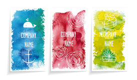 Watercolor banners. Three banners with watercolor spots of different colors and shapes. contain patterns style. White background, banners with shadow Stock Photography