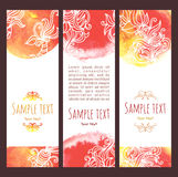 Watercolor banners. Vector background .Set of watercolor banners, abstract headers with blots and doodle flowers. In yellow, orange and red colors vector illustration