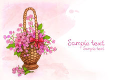 Watercolor basket of flowers royalty free stock images