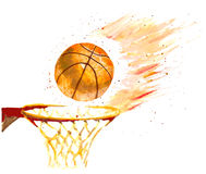Watercolor basketball Stock Photography