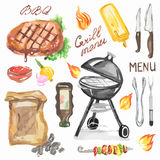 Watercolor bbq grill party set. Steak, grill machine, kebab, vegetables and sauces. Happy outdoor activity Stock Image