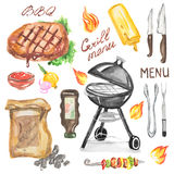 Watercolor bbq grill party set. Royalty Free Stock Image