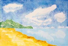 Watercolor beach landscape background Royalty Free Stock Photos