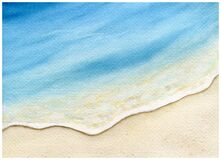 Free Watercolor Beach Painting Background, Golden Sand And Blue Ocean Water In Summer, Watercolor Beach Scene, Royalty Free Stock Photography - 176535887