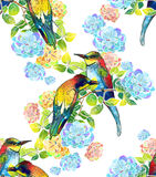 Watercolor beautiful birds and delicate flowers Royalty Free Stock Image