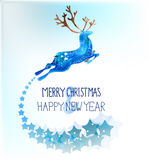 Watercolor beautiful blue deer with snowflakes Stock Photos