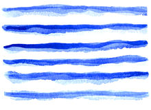Watercolor beautiful blue lines. Over white, hand drawn Stock Photos