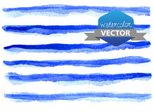 Watercolor beautiful blue lines. Over white, hand drawn stock illustration