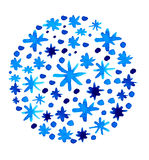 Watercolor beautiful blue snowflakes background Stock Images